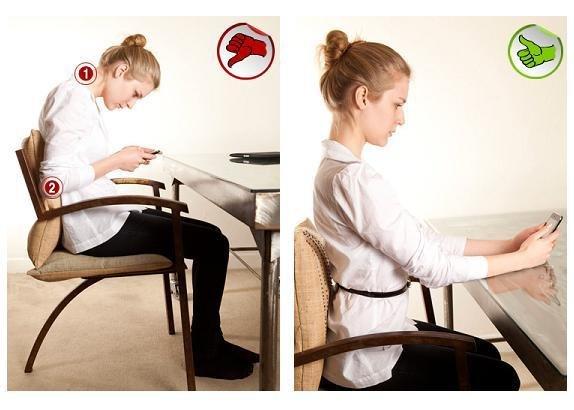 Postura adequada para usar o celular sentado